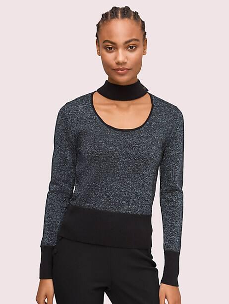 metallic scoopneck sweater by kate spade new york