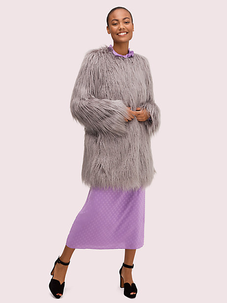 faux fur coat by kate spade new york