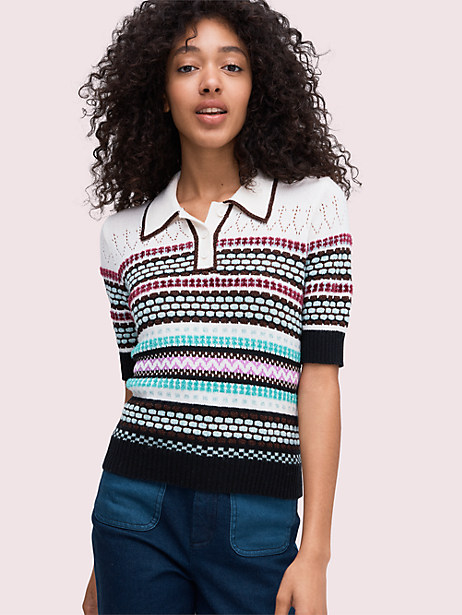 texture mix polo sweater by kate spade new york