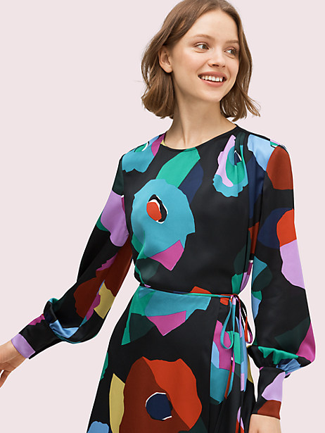 floral collage blouse, black, large by kate spade new york