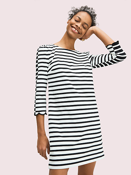 sailing stripe scallop dress, french cream, large by kate spade new york