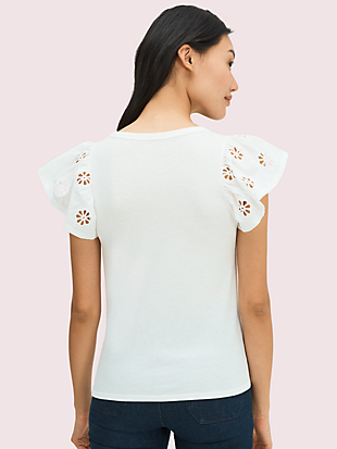 eyelet flutter sleeve tee by kate spade new york hover view