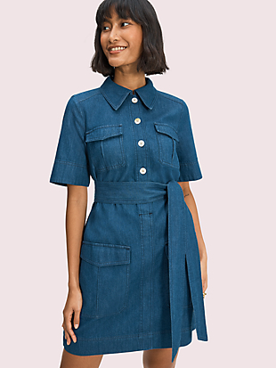 denim utility shirtdress by kate spade new york hover view