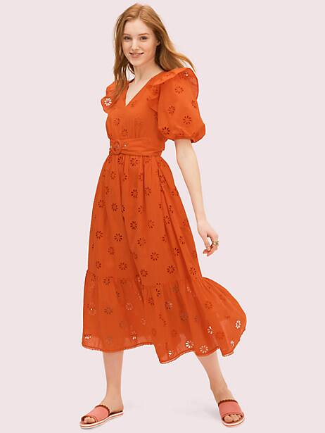 there are few things we love more than a pretty eyelet dress. especially when said dress is covered in spade-clover-shaped eyelets. bonus: they\\\'ll let in a little breeze as temps start to rise. wear this one with slide sandals and a colorful crossbody like how we styled it on our spring 2020 runway. Kate Spade Spade Clover Eyelet Dress, Tamarillo - 0