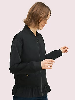 twill bomber jacket by kate spade new york hover view