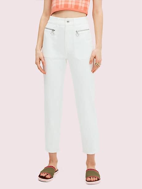 spade zip denim pant, fresh white, large by kate spade new york
