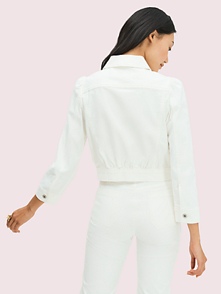 cropped denim jacket by kate spade new york hover view