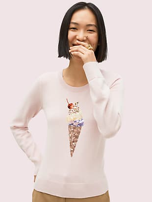 embellished ice cream sweater by kate spade new york non-hover view
