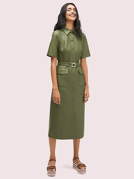 belted leather shirtdress, lichen, large by kate spade new york