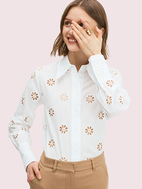 spade clover eyelet blouse, fresh white, large by kate spade new york