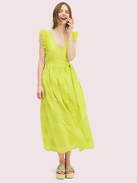 lightweight and breezy organza in a pop of color and embroidered with tonal flowers. it\\\'s kind of the perfect spring dress. Kate Spade Bloom Organza Dress, Citronelle - 0
