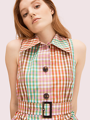 rainbow plaid shirtdress by kate spade new york hover view