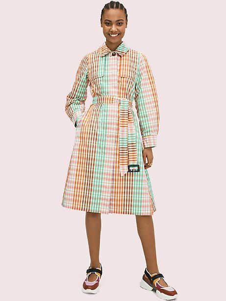 rainbow plaid trench by kate spade new york