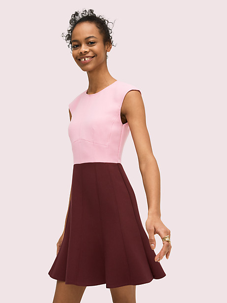 it\\\'s the little things-shoulder-broadening cap sleeves and classic colorblocking-that make this fit-and-flare dress so unique, not to mention going-to-wear-this-everywhere wantable. Kate Spade Colorblock Dress, Mission Fig - 12