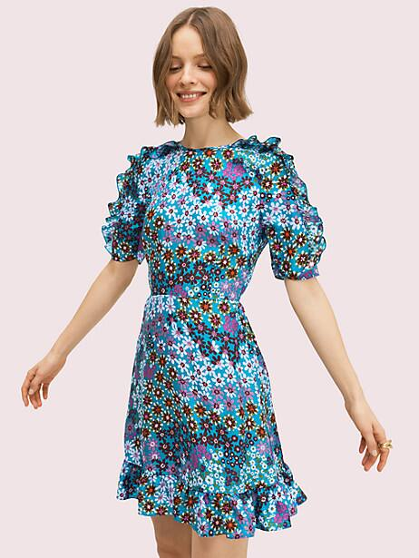 pacific petals smocked dress, aruba blue, large by kate spade new york