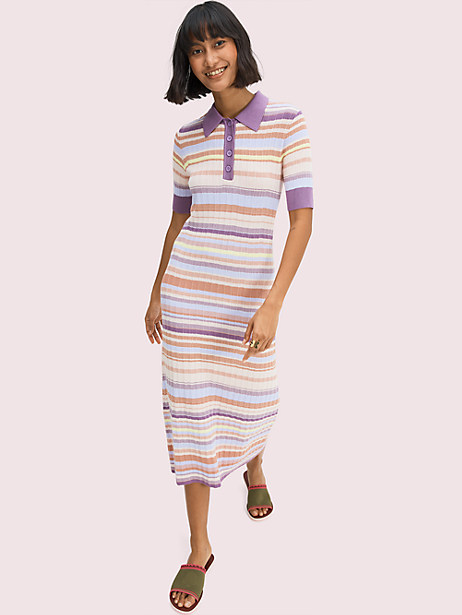 multi-stripe polo knit dress by kate spade new york