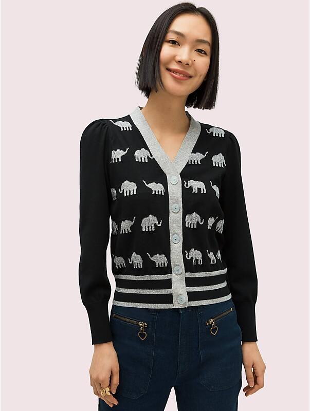 elephant v-neck cardigan, , rr_large