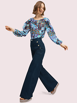 pacific petals chiffon blouse by kate spade new york hover view