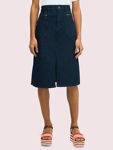 spade zip denim skirt, indigo, large by kate spade new york