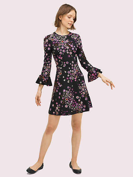 bora flora ponte dress, black, large by kate spade new york