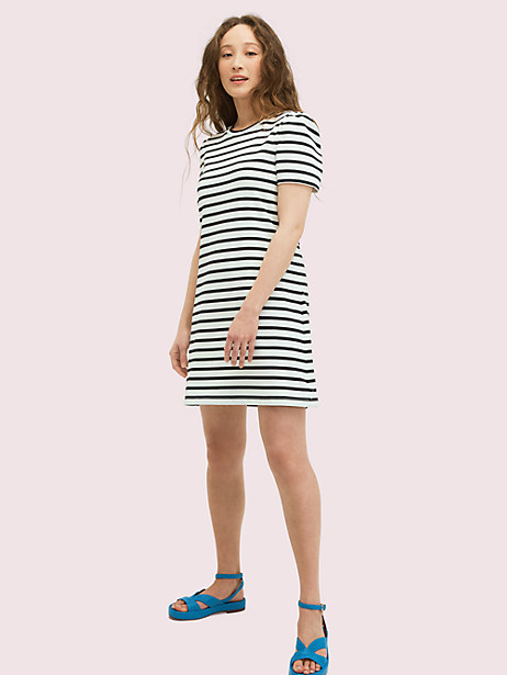 striped puff-sleeve dress by kate spade new york