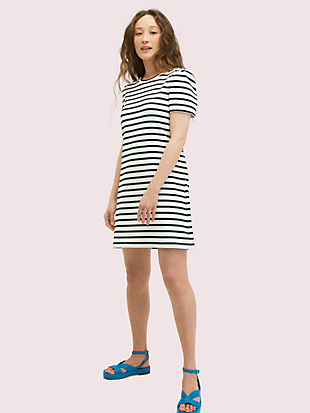 striped puff-sleeve dress by kate spade new york non-hover view