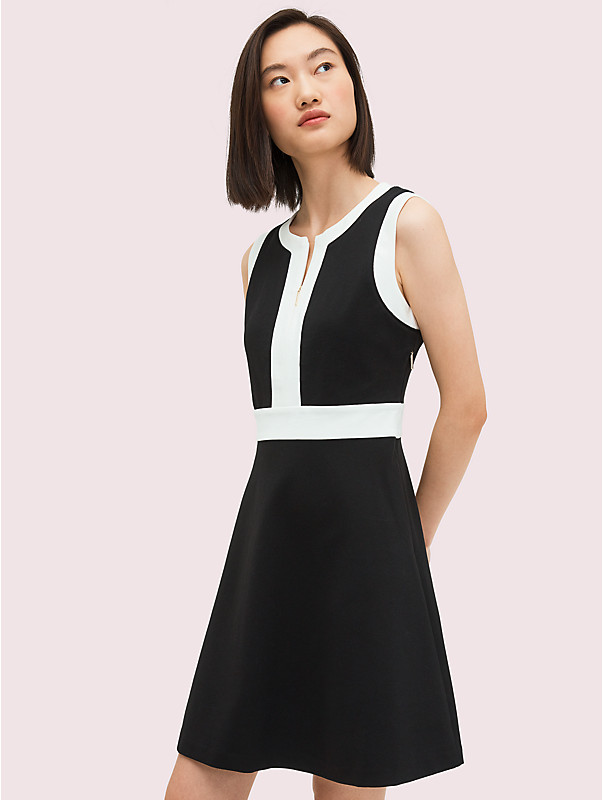 contrast panel ponte dress, , rr_large
