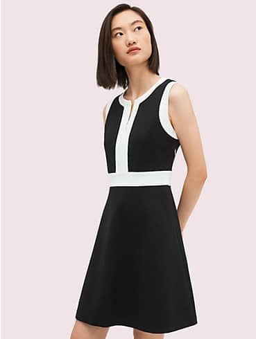 contrast panel ponte dress, , rr_productgrid