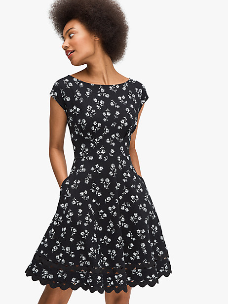 look familiar? you might recognize the feminine bateau neckline and fit-and-flare shape-both signature elements that make up our classic fiorella silhouette. this time around we accented it with our playful dandelion floral print. Kate Spade Dandelion Floral Ponte Dress, Black - Large