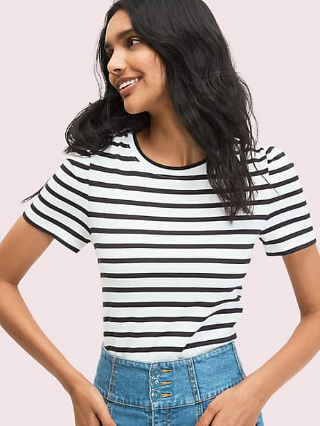striped puff-sleeve tee by kate spade new york