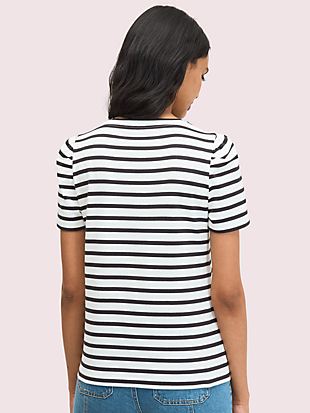 striped puff-sleeve tee by kate spade new york hover view