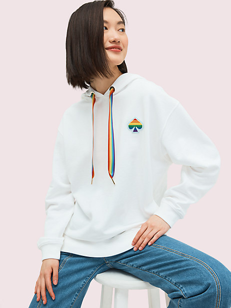 spade rainbow hoodie, fresh white, large by kate spade new york