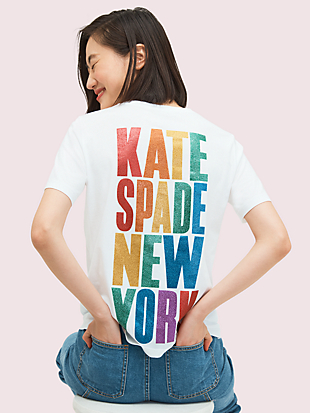 rainbow glitter logo tee by kate spade new york non-hover view