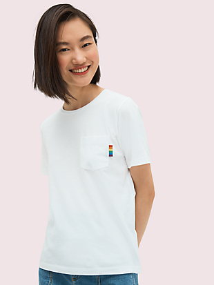 rainbow glitter logo tee by kate spade new york hover view