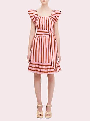 calais stripe flutter dress by kate spade new york non-hover view
