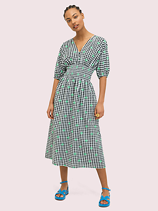 gingham voile midi dress by kate spade new york non-hover view