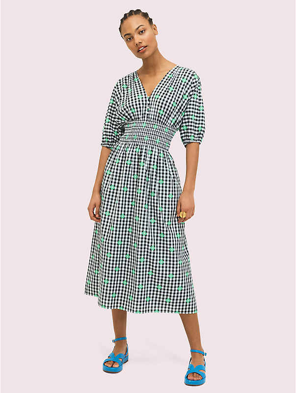 gingham voile midi dress, , rr_large