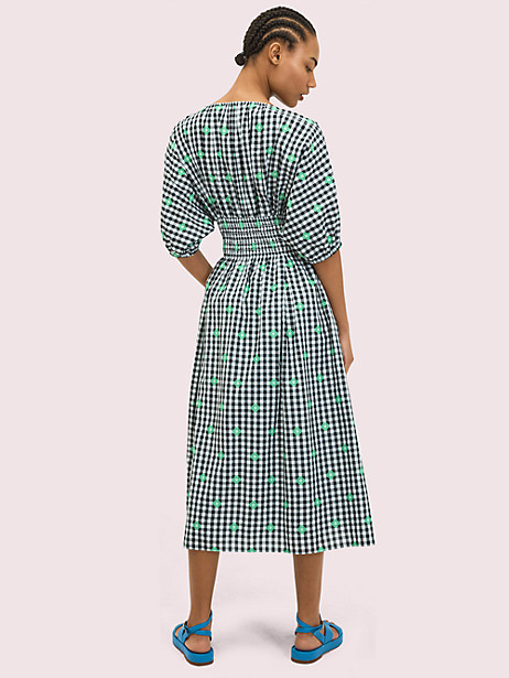 Gingham voile midi dress   Kate Spade New York