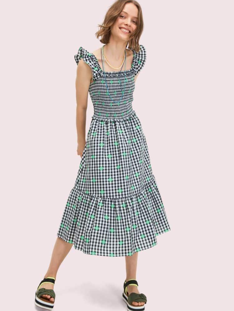Gingham voile smocked dress   Kate Spade New York