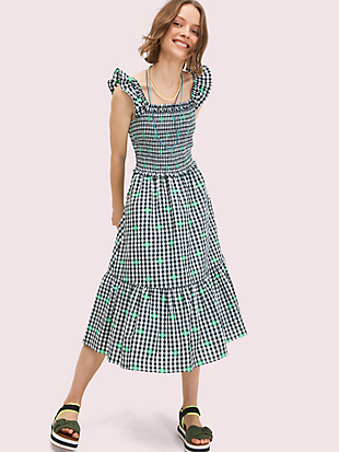 gingham voile smocked dress by kate spade new york non-hover view