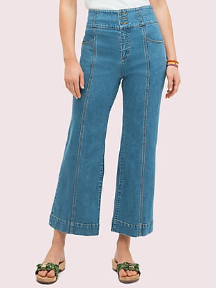 denim cropped flare pant by kate spade new york non-hover view