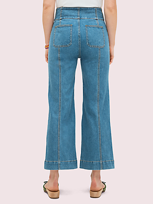 denim cropped flare pant by kate spade new york hover view