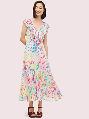 painted petals pleated dress by kate spade new york non-hover view