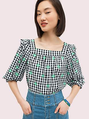 gingham voile top by kate spade new york non-hover view