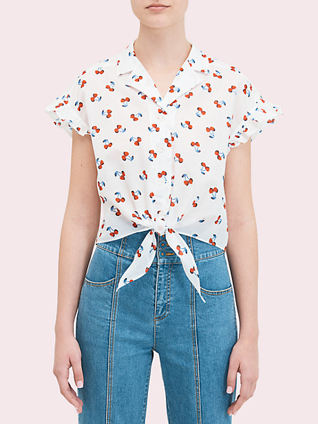cherry toss tie-front top by kate spade new york