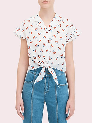 cherry toss tie-front top by kate spade new york non-hover view