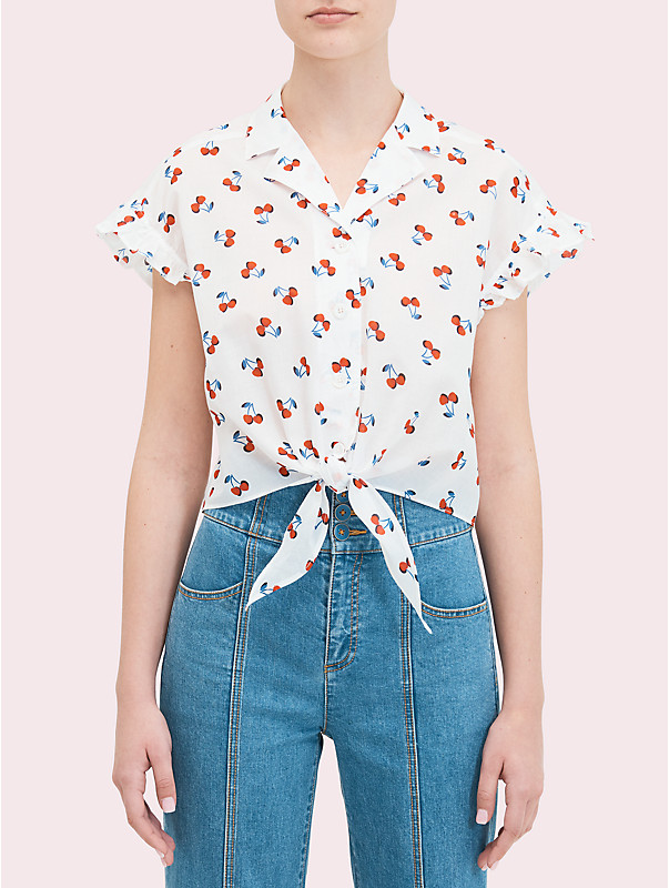 cherry toss tie-front top, , rr_large