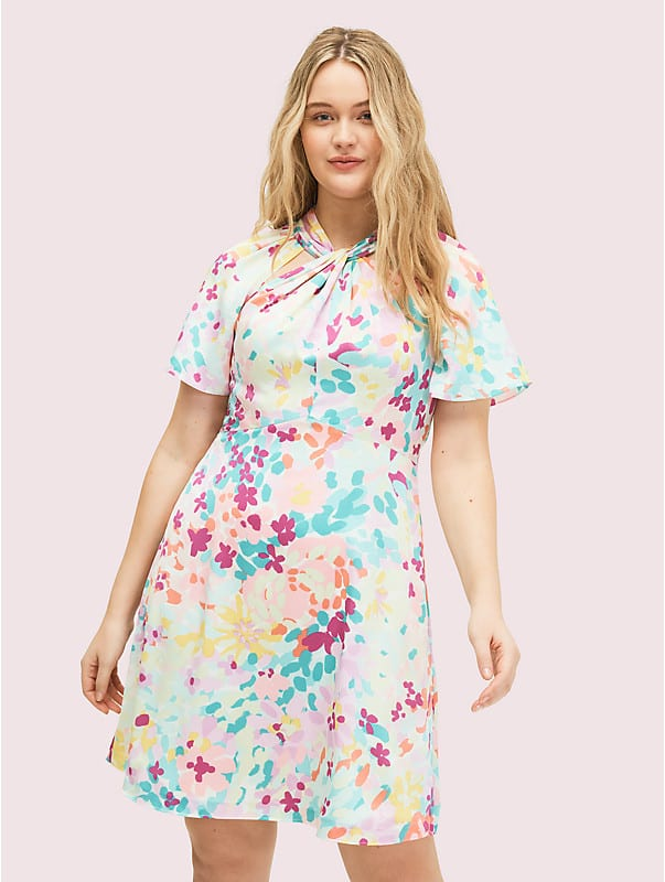 painted petals twist neck dress, , rr_large