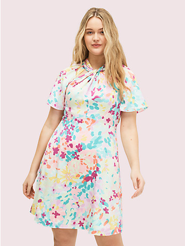 painted petals twist neck dress, , rr_productgrid