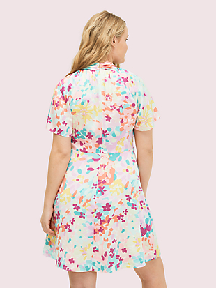 painted petals twist neck dress by kate spade new york hover view